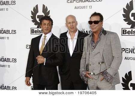 """LOS ANGELES - AUGUST 3:  Sylvester Stallone, Bruce Willis & Mickey Rourke. arrives at """"The Expendables"""" LA Premiere at Grauman's Chinese Theater on August 3, 2010 in Los Angeles, CA"""