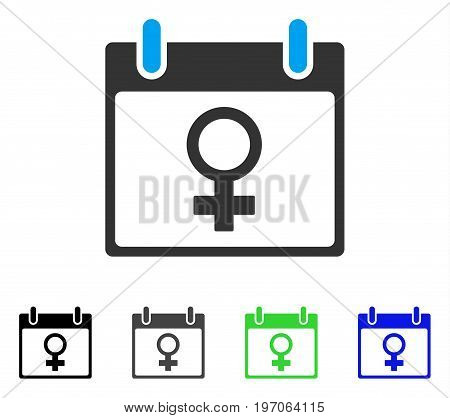 Venus Female Symbol Calendar Day flat vector pictograph. Colored venus female symbol calendar day gray, black, blue, green icon variants. Flat icon style for web design.