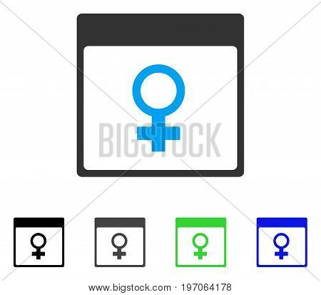 Venus Female Symbol Calendar Page flat vector icon. Colored venus female symbol calendar page gray, black, blue, green icon variants. Flat icon style for graphic design.