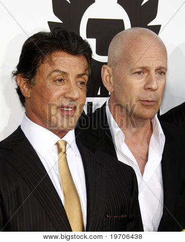 """LOS ANGELES - AUGUST 3:  Sylvester Stallone & Bruce Willis  arrives at """"The Expendables"""" LA Premiere at Grauman's Chinese Theater on August 3, 2010 in Los Angeles, CA"""