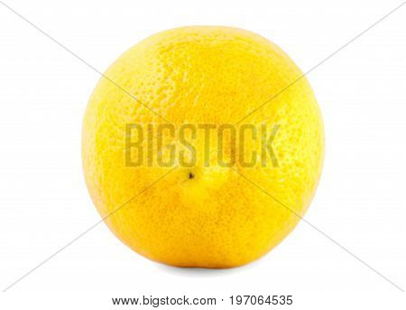 Fresh juicy lemon, isolated on a white background, close-up. Ripe, natural, juicy, sour, organic citrus fruit. A whole tasteful lemon.
