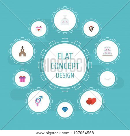 Flat Icons Wedding Gown, Bridegroom Dress, Jewelry And Other Vector Elements