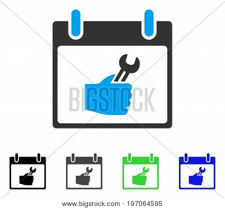 Wrench Service Hand Calendar Day flat vector illustration. Colored wrench service hand calendar day gray, black, blue, green pictogram variants. Flat icon style for web design.