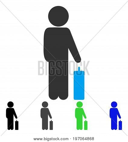 Child Baggage flat vector illustration. Colored child baggage gray, black, blue, green icon variants. Flat icon style for application design.