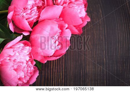 Pink peonies on a wooden table. Beautiful floral background with space for text.