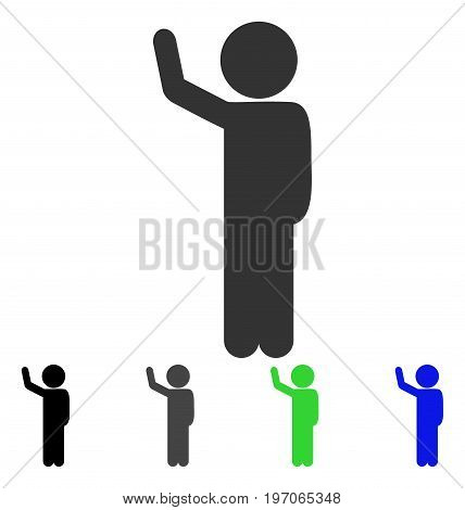 Child Hitchhike flat vector pictograph. Colored child hitchhike gray, black, blue, green pictogram variants. Flat icon style for application design.