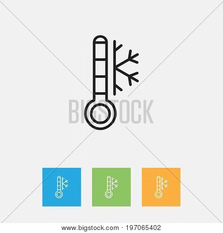 Vector Illustration Of Weather Symbol On Frost Temperature Outline