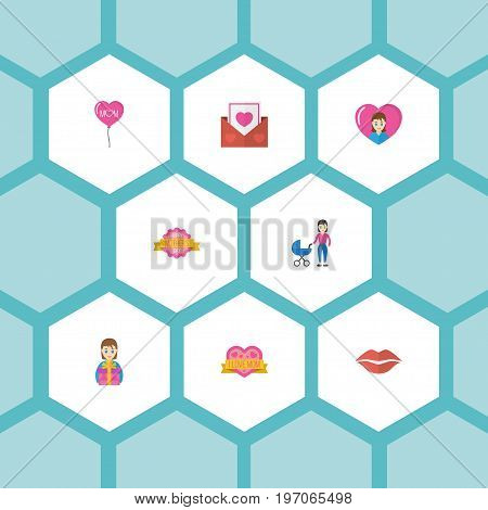 Happy Mother's Day Flat Icon Layout Design With Gift To Mom, Design And Decoration Symbols