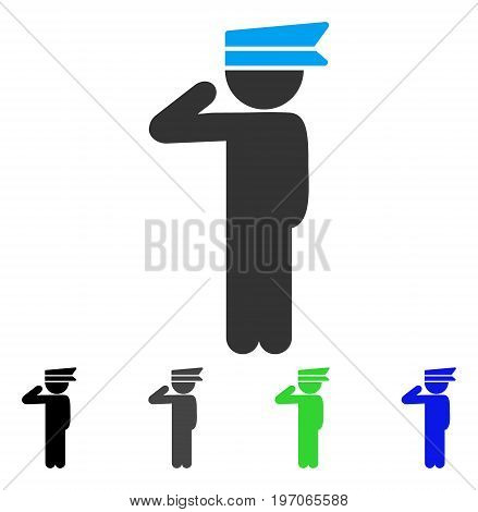 Child Officer flat vector pictograph. Colored child officer gray, black, blue, green icon variants. Flat icon style for graphic design.