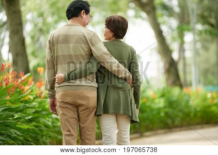 Rear view of senior Vietnamese couple hugging when walking in the park