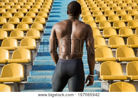 Back view of a muscular sportsman ready to start running upstairs at the stadium