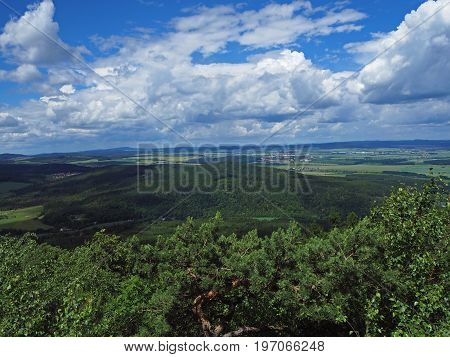 View From Top Of The Mountain In Jeseniky- Hills, Trees, Villages