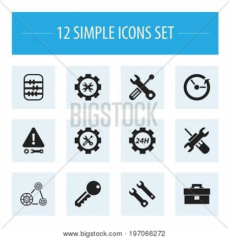 Set Of 12 Editable Mechanic Icons. Includes Symbols Such As Utility, Portfolio, Access And More