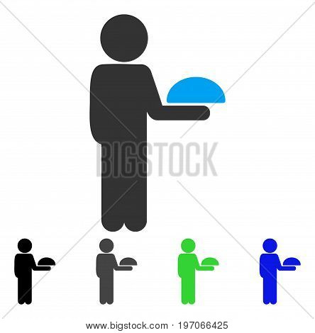 Child Waiter flat vector pictograph. Colored child waiter gray, black, blue, green pictogram variants. Flat icon style for web design.