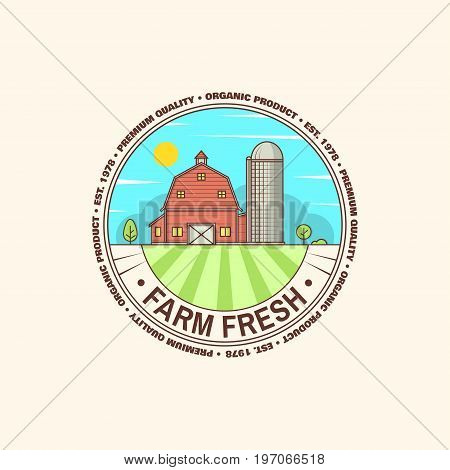 Fresh farm badge, label or sign in vintage style. For flyers and banners design shop and Eco Farm Organic Market. Vector illustration.