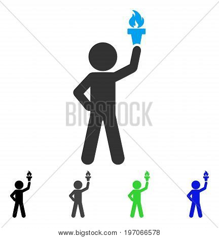Child With Freedom Torch flat vector illustration. Colored child with freedom torch gray, black, blue, green pictogram variants. Flat icon style for application design.