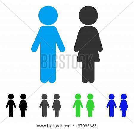 Children Couple flat vector illustration. Colored children couple gray, black, blue, green pictogram variants. Flat icon style for web design.