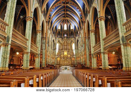 OTTAWA, CANADA - JUL.5, 2011: Notre-Dame Cathedral Basilica inside, Ottawa, Ontario, Canada.