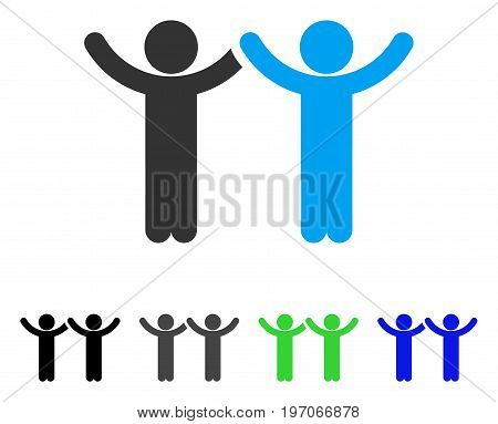 Hands Up Children flat vector icon. Colored hands up children gray, black, blue, green icon versions. Flat icon style for application design.