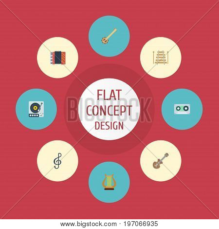Flat Icons Acoustic, Quaver, Harmonica And Other Vector Elements