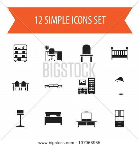 Set Of 12 Editable Furniture Icons. Includes Symbols Such As Lectern, Restaurant Table, Bed And More
