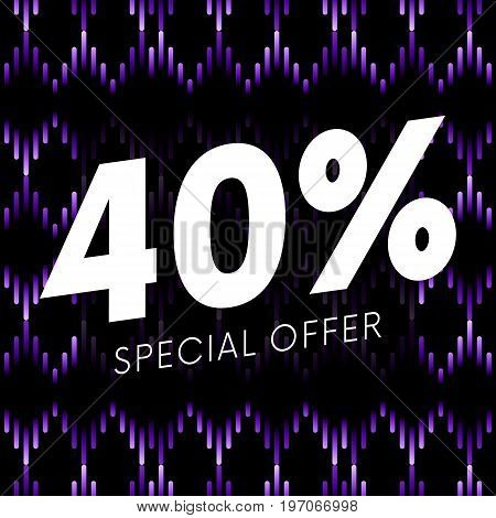 Special offer forty percent text banner on musical dark background. Vector illustration.