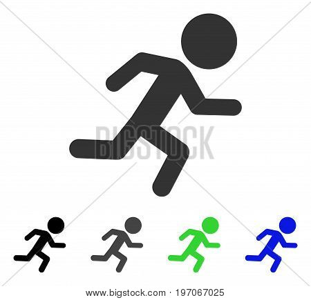 Running Child flat vector icon. Colored running child gray, black, blue, green icon versions. Flat icon style for application design.