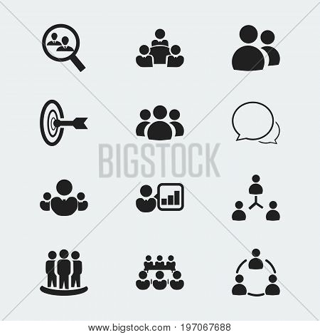 Set Of 12 Editable Community Icons. Includes Symbols Such As Member, Goal, Human Resouces And More