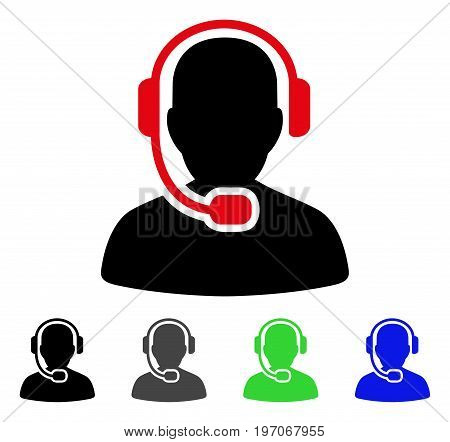 Call Center Operator flat vector icon. Colored call center operator gray, black, blue, green icon variants. Flat icon style for application design.