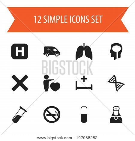 Set Of 12 Editable Health Icons. Includes Symbols Such As Intelligence, Clinic, Respiratory Organ And More
