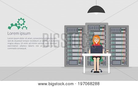 Web Banner. Woman System Administrator. Vector illustration in flat style. Technologies Server Maintenance Support Descriptions.
