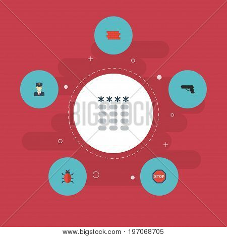 Flat Icons Brick Wall, Policeman, Road Sign And Other Vector Elements