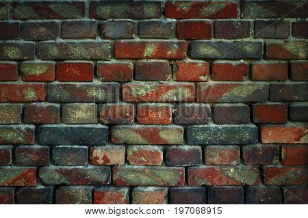 old brick wall for texture or background, dark effect