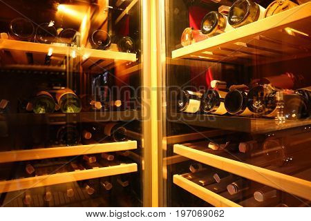 Fridges with bottles of wine at store