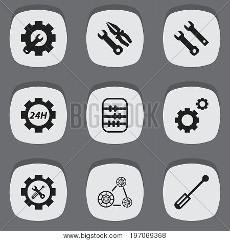 Set Of 9 Editable Toolkit Icons. Includes Symbols Such As Wrench Repair, Mechanic Cogs, Screwdriver Wrench And More