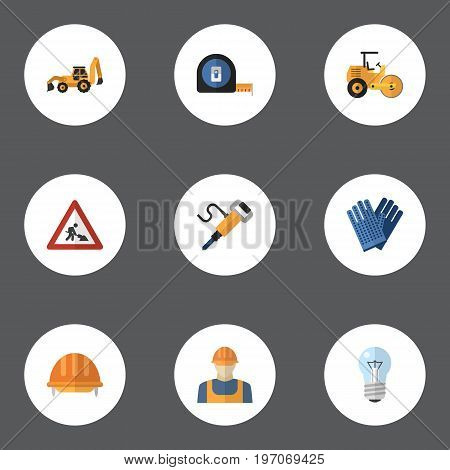Flat Icons Hardhat, Caution, Pneumatic And Other Vector Elements