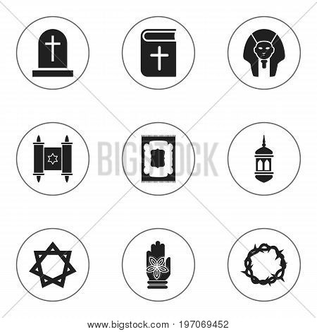 Set Of 9 Editable Dyne Icons. Includes Symbols Such As Hamsa, Muslim Carpet, Christian Book And More