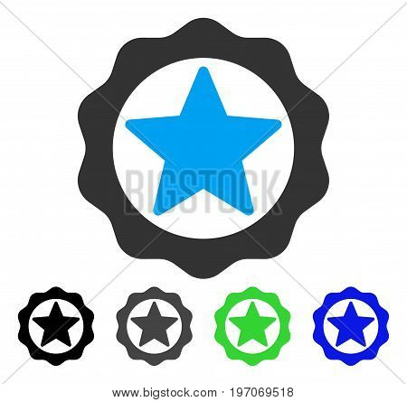 Award Star Seal flat vector pictogram. Colored award star seal gray, black, blue, green pictogram variants. Flat icon style for application design.