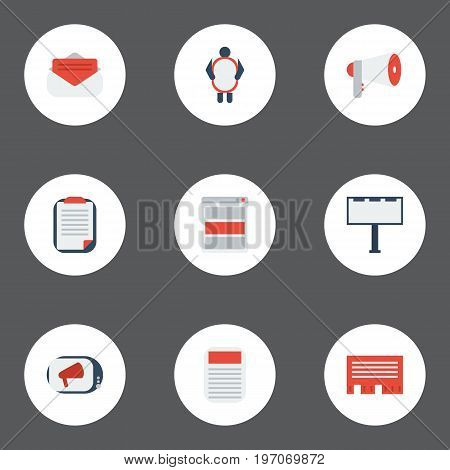 Flat Icons Journal, Placard, Message And Other Vector Elements