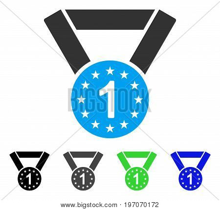 First Medal flat vector pictogram. Colored first medal gray, black, blue, green pictogram versions. Flat icon style for application design.