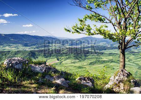Beautiful view from hill Hrdos (Ostre). Mala Fatra mountains landscape. Region Orava Slovakia