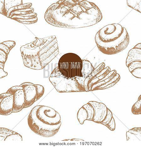 Seamless vector pattern with bakery goods. Bread bun iced cinnamon bun sliced italian bread cake and croissant.