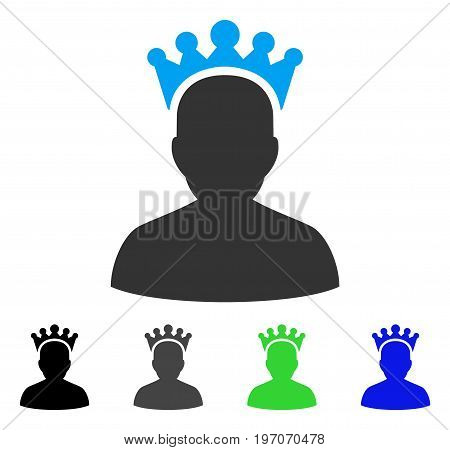King flat vector pictogram. Colored king gray, black, blue, green pictogram versions. Flat icon style for application design.