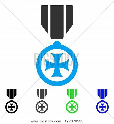 Maltese Cross flat vector icon. Colored maltese cross gray, black, blue, green icon versions. Flat icon style for graphic design.