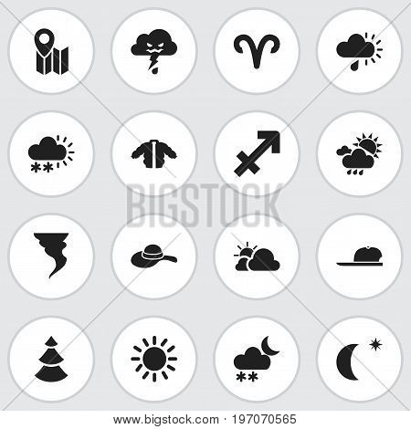 Set Of 16 Editable Weather Icons. Includes Symbols Such As Snow Granule, Coat, Pin And More