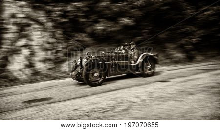 GOLA DEL FURLO, ITALY - MAY 19: MG C TYPE MIDGET SUPERCHARGED 1932 on an old racing car in rally Mille Miglia 2017 the famous italian historical race (1927-1957) on May 19 2017