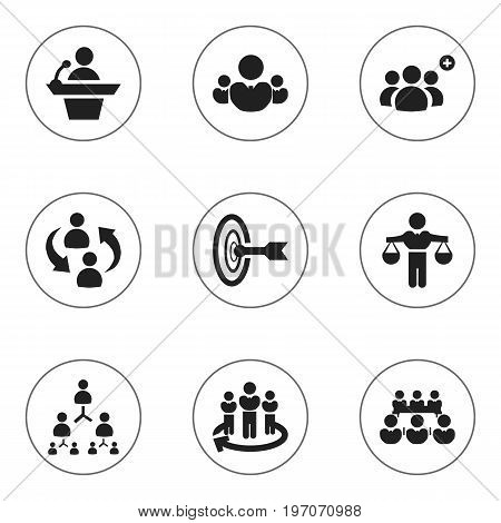 Set Of 9 Editable Community Icons. Includes Symbols Such As Finding Solution, Goal, Hierarchy And More
