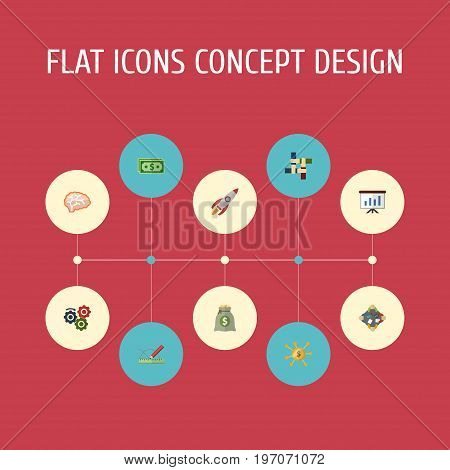 Flat Icons Cash, Financing, Support And Other Vector Elements
