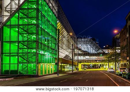 Montreal, Canada - May 27, 2017: Palais Des Congres Green And Yellow Facade In Downtown Area At Nigh