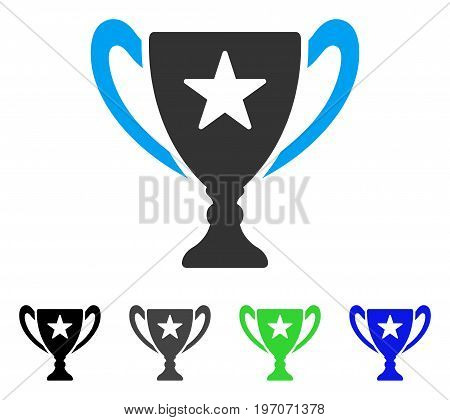 Trophy Cup flat vector pictograph. Colored trophy cup gray, black, blue, green pictogram versions. Flat icon style for web design.